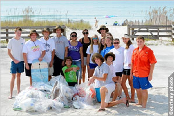 Teens Performing Coastal Cleanup