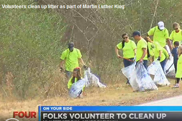 Volunteers clean up litter as part of Martin Luther King Jr. Day service project